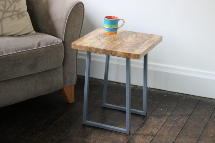 Oak Side Table with Map