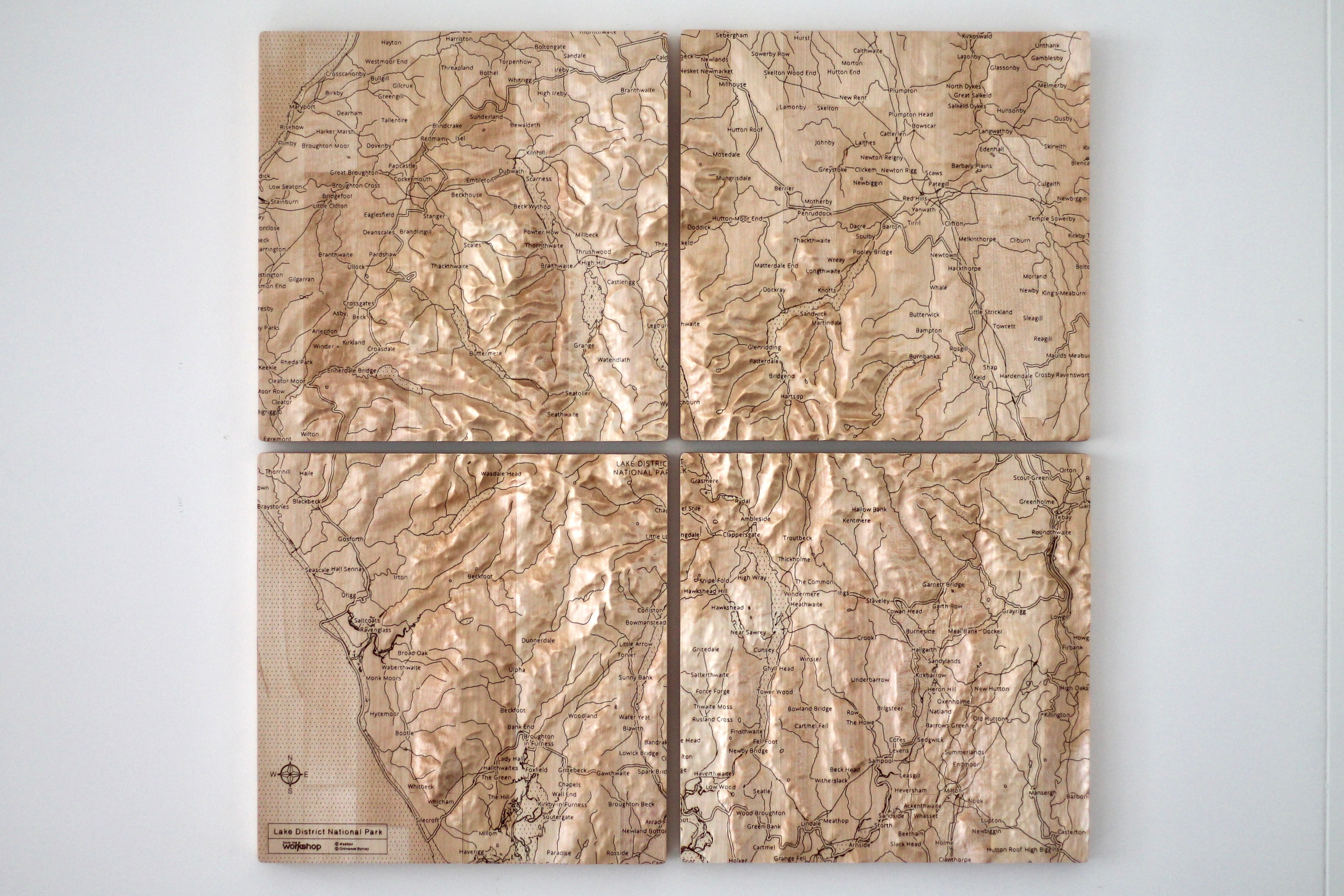 Four piece wall map